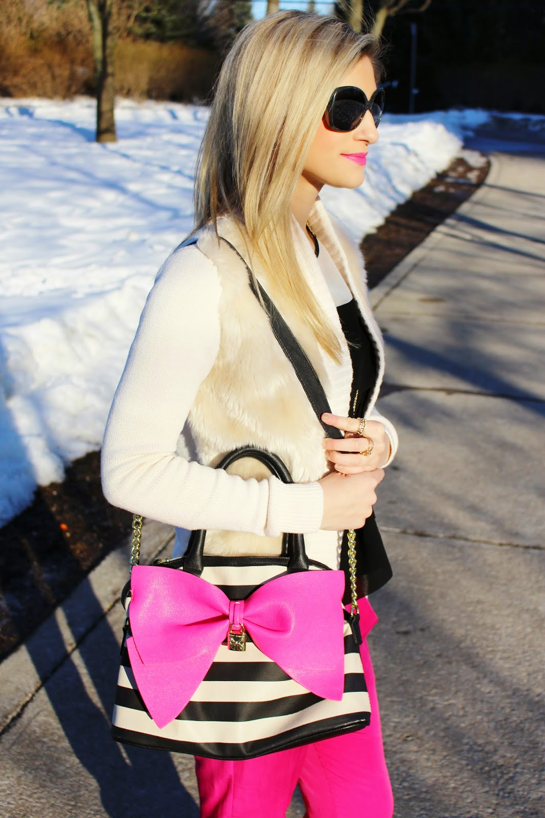 bijuleni,hot pink Zara pants,Betsey Johnson, big bow, Calvin Klein, fur, chanel sunglasses
