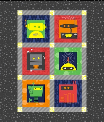 On top of a lily pad robot quilts on spoonflower for Robot quilt fabric