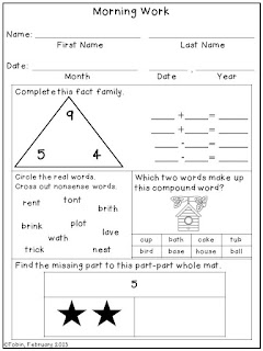 https://www.teacherspayteachers.com/Product/First-Grade-Morning-Work-611251