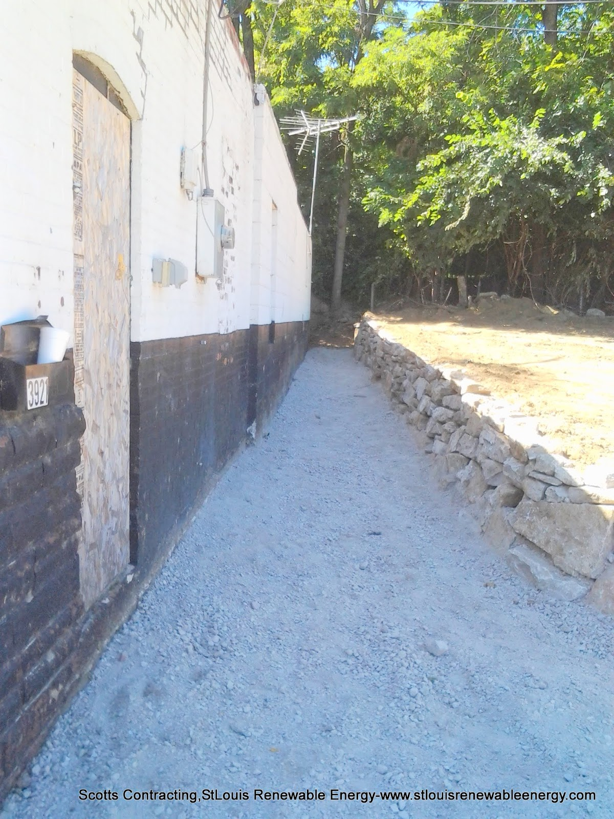 4-6 in Crushed Limestone Rock, Chet-Minus base prepped for the Concrete Sidewalk, Side Entrance, and Parking Area.