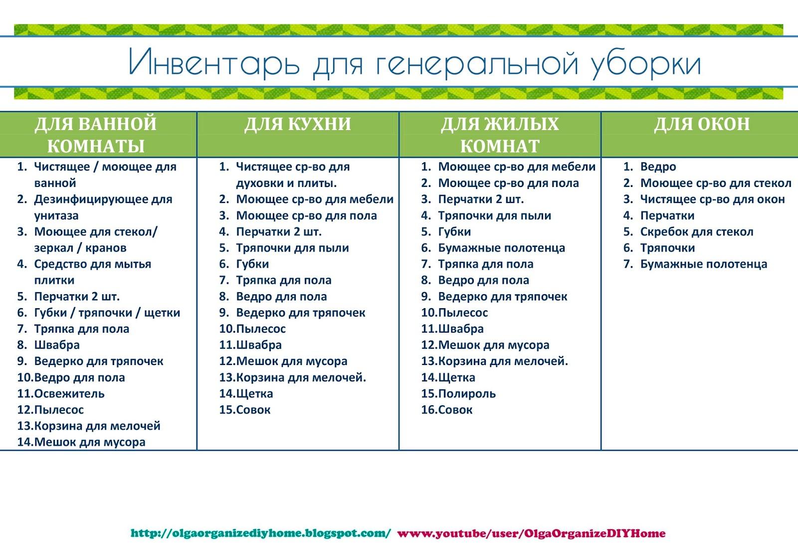 график генеральной уборки: