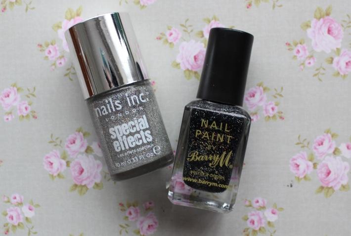 black glitter sparkly nails