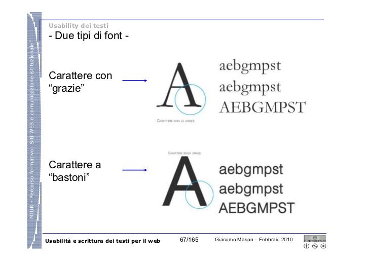 per la leggibilità è importante la comparazione tra un font serif e un sans serif