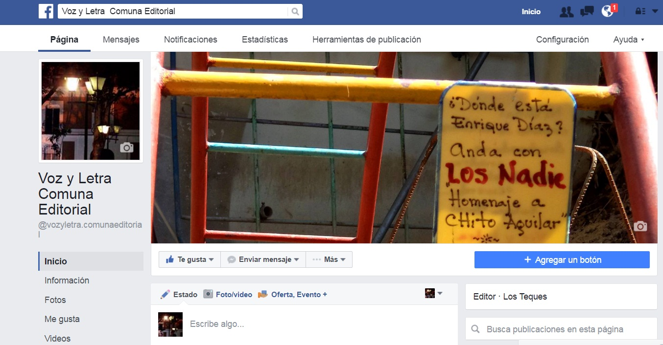 Facebook Voz y Letra Comuna Editorial