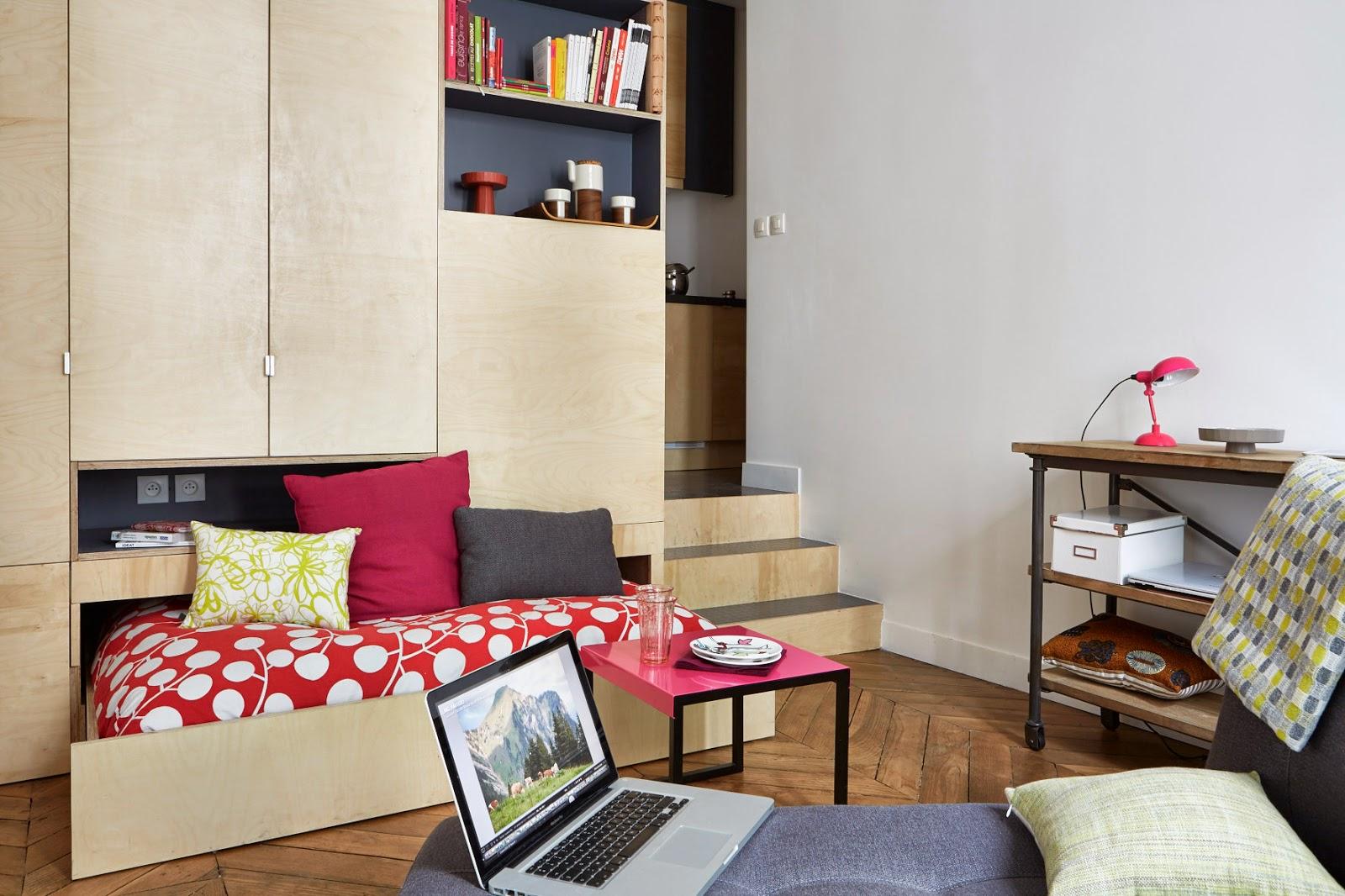 agencement petit appartement dedans petit appartement styl et bien agenc madame dcore with. Black Bedroom Furniture Sets. Home Design Ideas