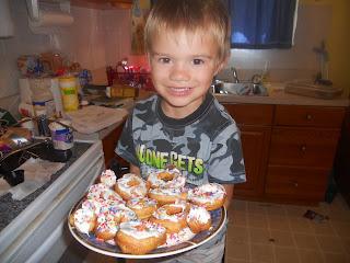 Kids making donuts