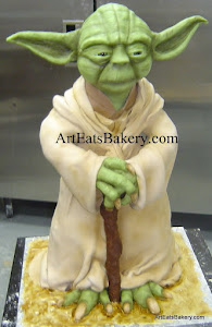 Star Wars Yoda unique creative custom fondant 3D Groom's cake design the force was with me and I'm