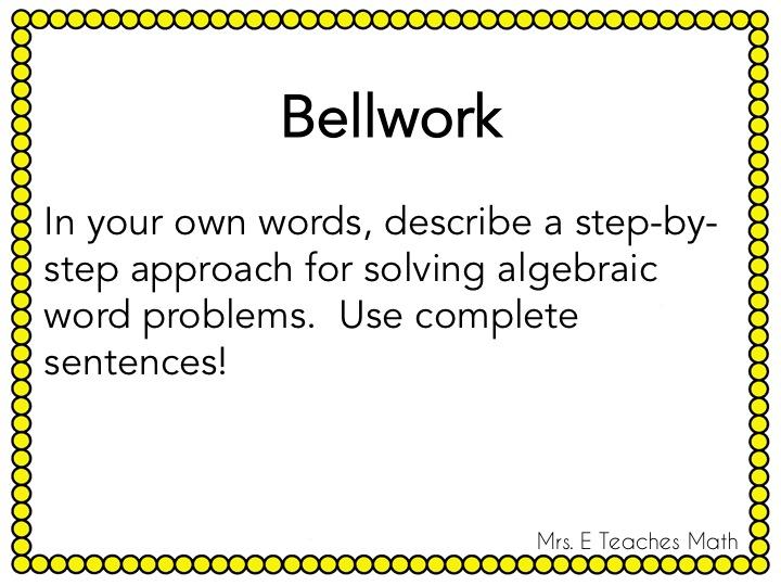 Incorporating Writing in Math - algebra and geometry warmups  |  mrseteachesmath.blogspot.com