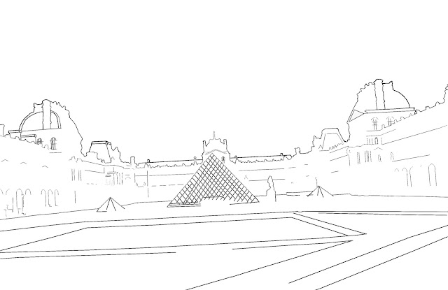 simple sketch of the Louvre museum in Paris