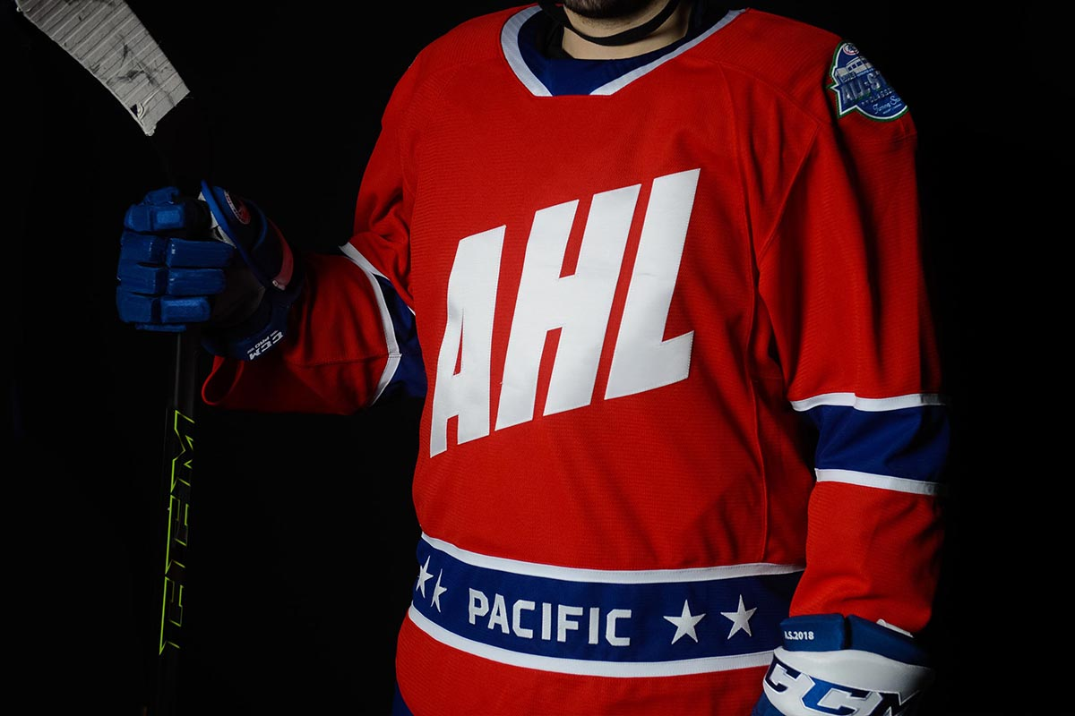 As you can see each jersey has the letters AHL splashed across the front.  This is done in the same style as the early 2000 s AHL All-Star jerseys. 1587e10c9