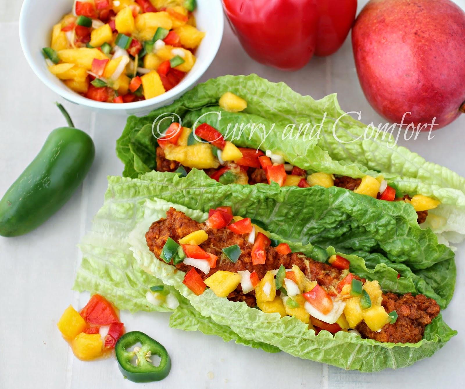 Kitchen Simmer: Buffalo Chicken Lettuce Wraps with Mango Salsa