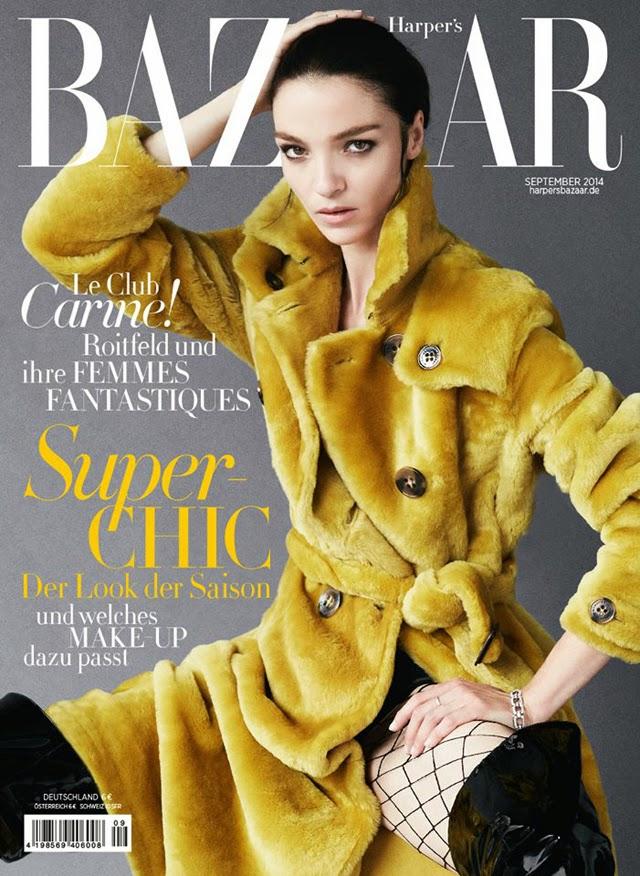 Mariacarla Boscono covers Harper's Bazaar Germany September 2014