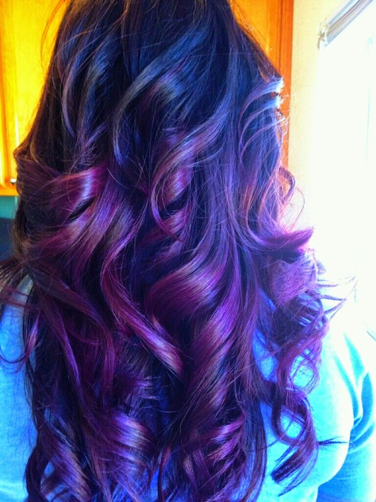 Dark brown haircolor with purple ombre