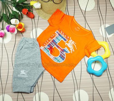 Bộ Burberry dành cho bé Nam màu cam - Babystyle.com.vn