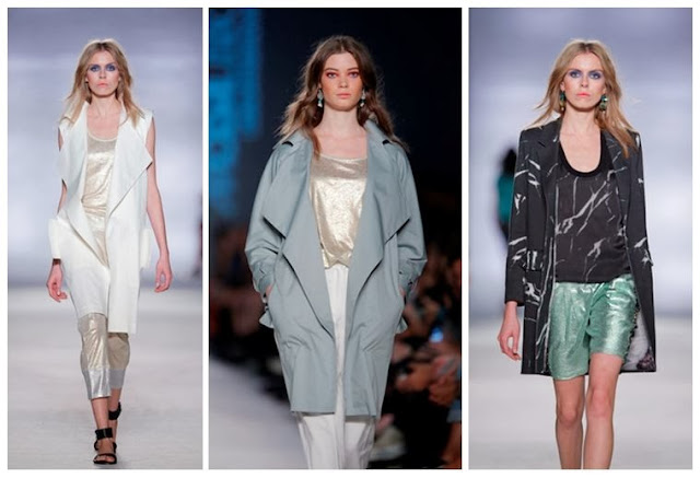 Lisbon Fashion Week womenswear with pale blue coat and white waistcoat