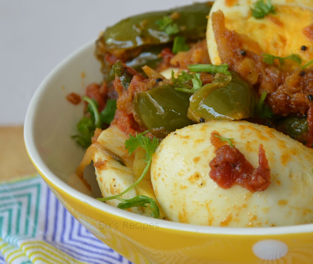 egg cooked with vegetable, side dish for roti, chapati, rice, poori