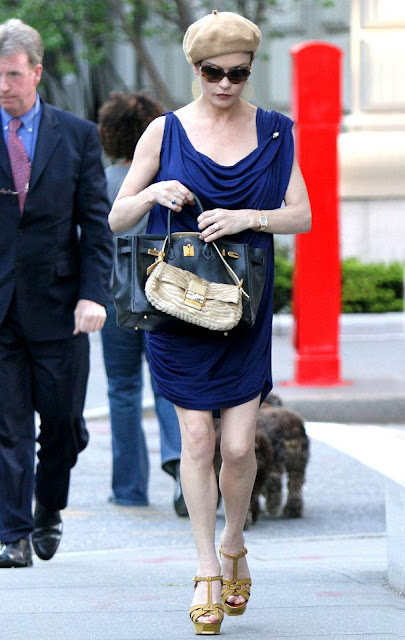 Catherine Zeta-Jones - Hermes Birkin, Fendi Baguette, YSL Tribute Sandals