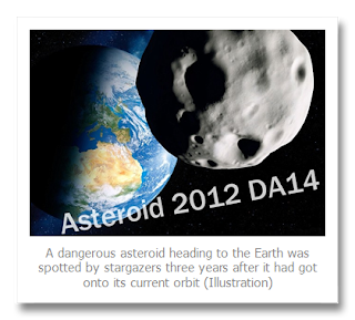 Incoming:  Feb 15, 2013 Flyby Of Asteroid 2012 DA14