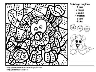 Maternelle: Coloriage magique : un chien et une coccinelle