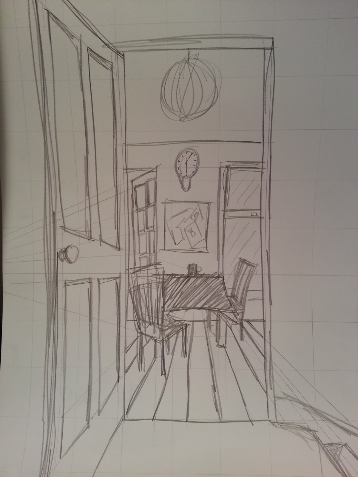 open door drawing perspective. For This Exercise I Drew A Scene From An Open Door Leading Into My Kitchen, With Table And Chairs, Window The Garden. Drawing Perspective
