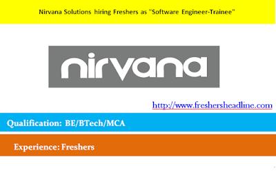 Nirvana Solutions hiring Freshers