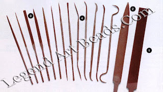 1 Large flat file:  2 large oval file;  3 needle files;  4 riffler files designed to reach inside awkward places and useful for filing inside little holes between twisted wires, and in convex and concave areas, and for removing traces of solder.
