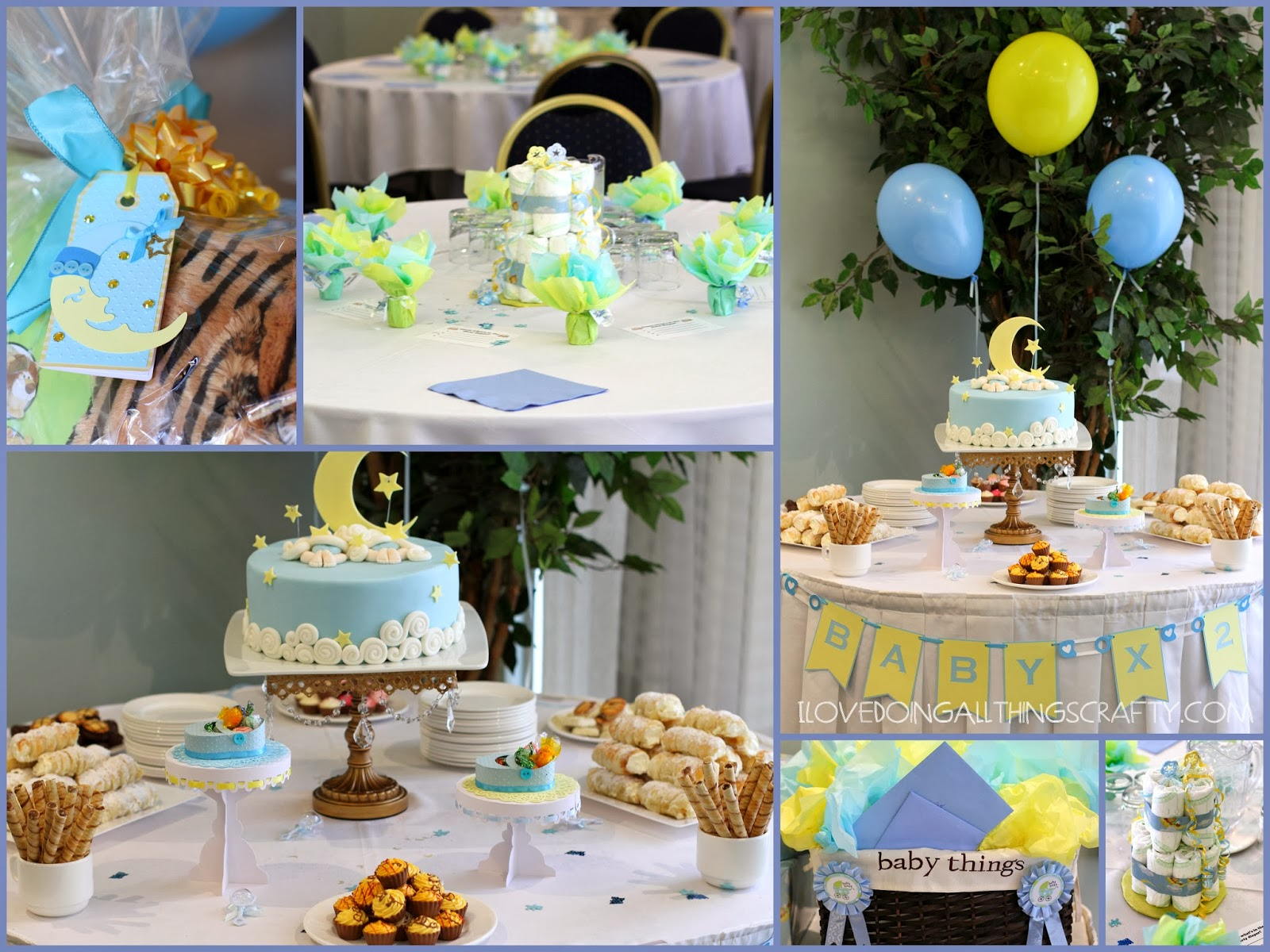 I love doing all things crafty moon star clouds twin for Baby shower decoration ideas for twin boys