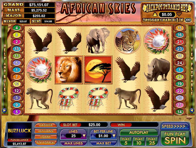 NuWorks Gaming African Skies Video Slot Game