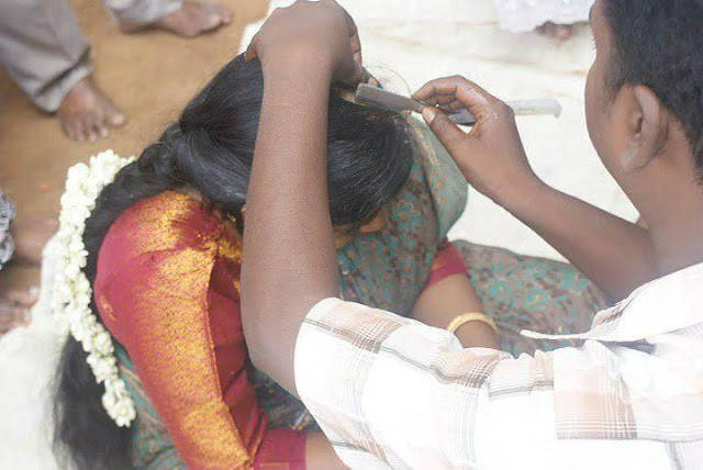 head shaved in temple festival