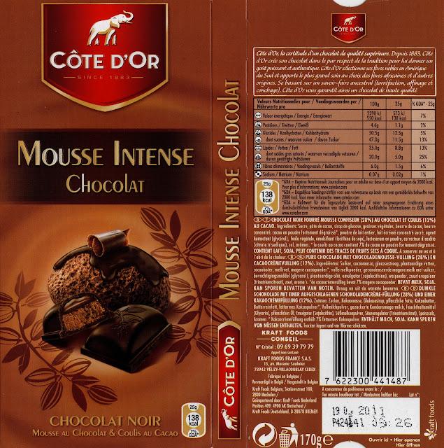 tablette de chocolat noir fourré côte d'or mousse intense chocolat