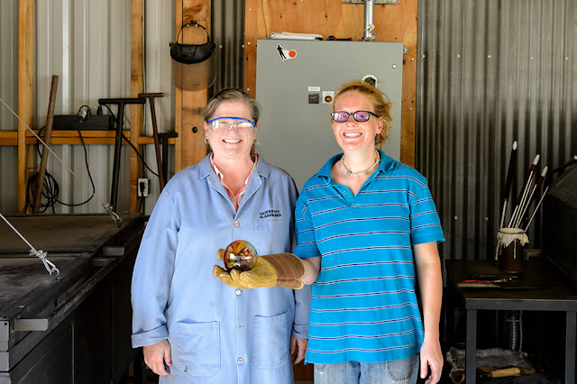 Peg and Amy at Golden Glassblowing Experience - Skagway, Alaska