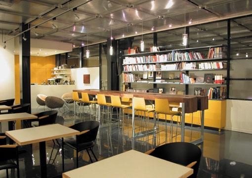 Imagine these cafe interior design salon b bibliocaf - Salon design montreal ...