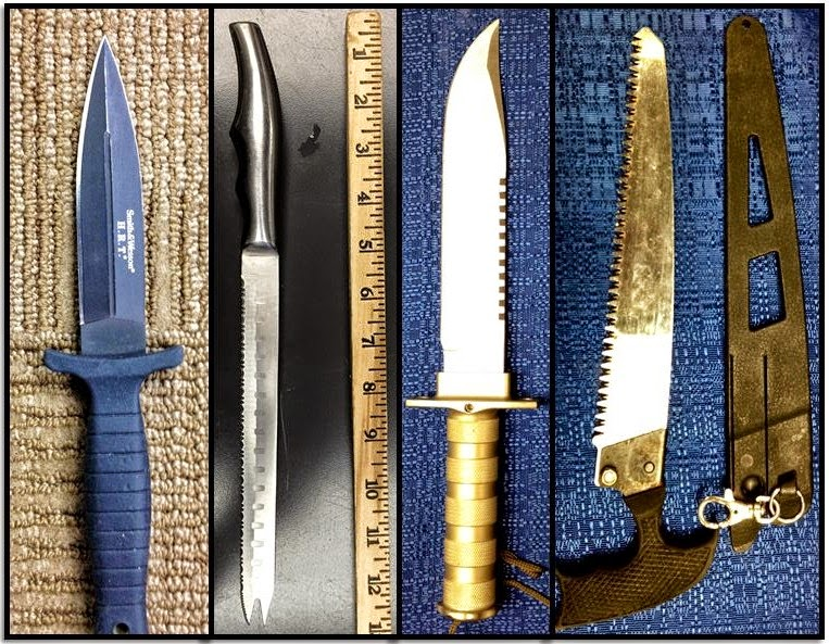 (L-R) Knives (And Saw) Discovered At: ALB, ALB, ORD & CRW
