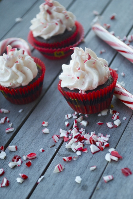 Hot Cocoa Cupcakes with Candy Cane Buttercream Frosting