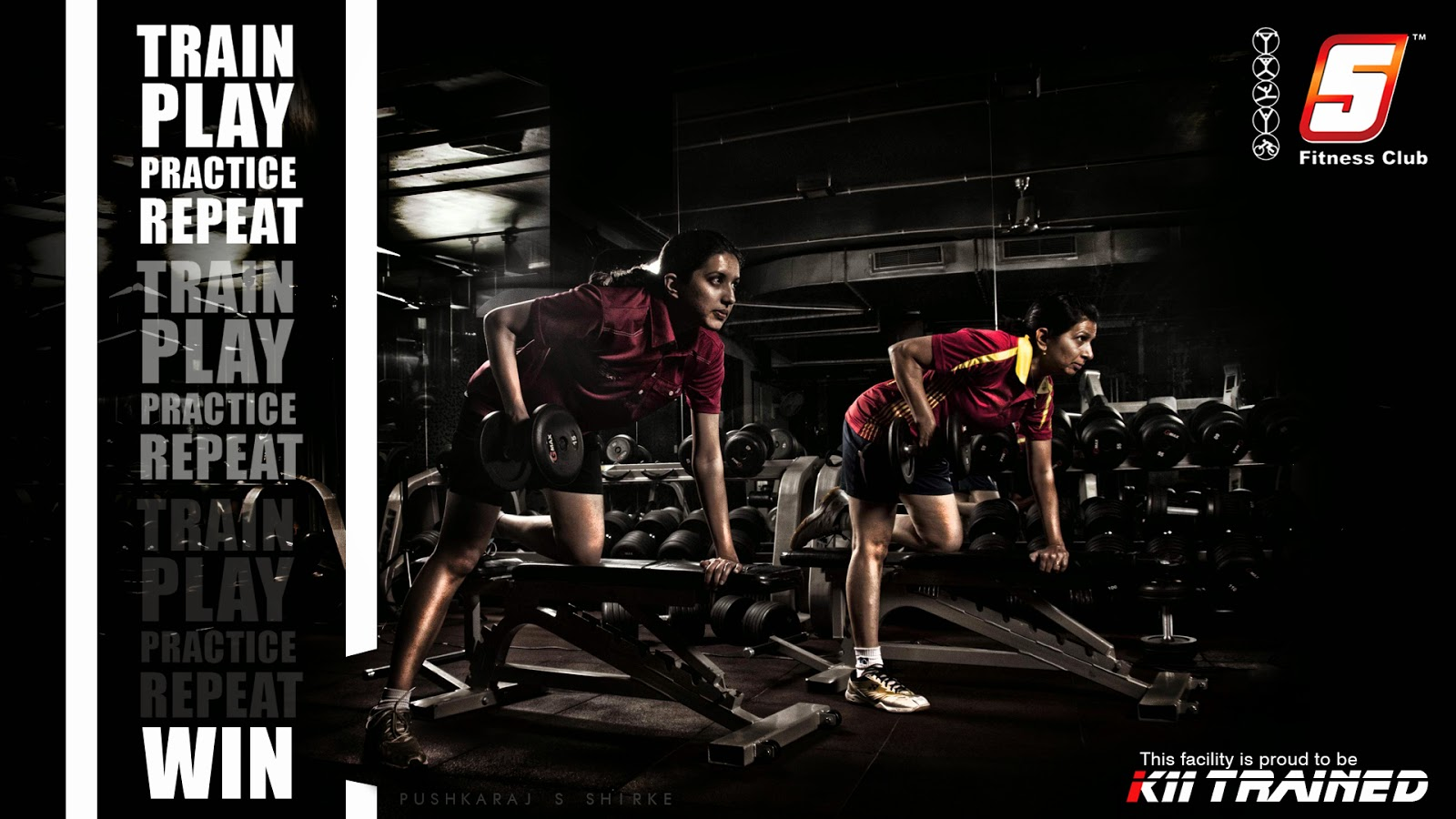 Pushkaraj s shirke 5 fitness club poster campaign for Gym fitness