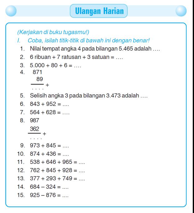 Kumpulan Soal Matematika Soal Ulangan Harian Matematika Kelas 3 Sd Quot Operasi Hitung Penjumlahan