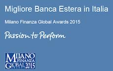 Deutsche Bank riconosciuta come la Migliore Banca Estera in Italia.
