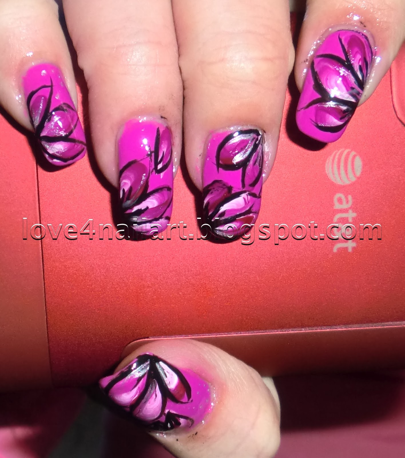 Love4nailart Purplepink Flower Nail Art
