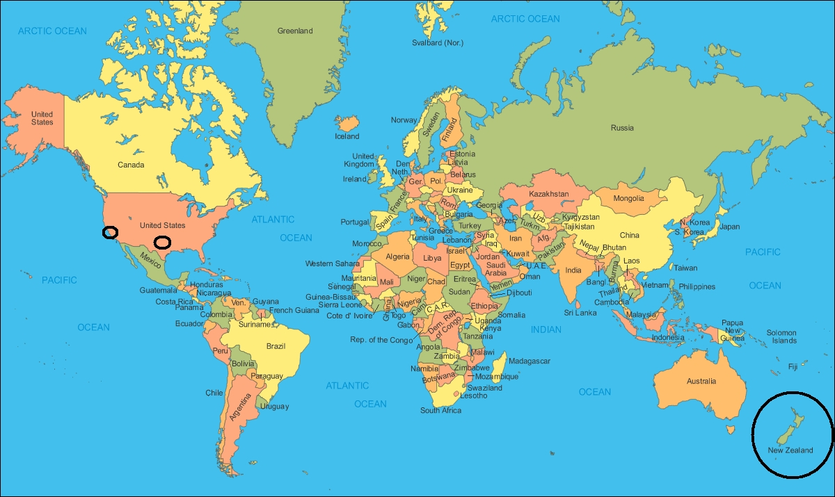 Diagram Collection World Map Where Is Guatemala Download More - Los angeles in world map