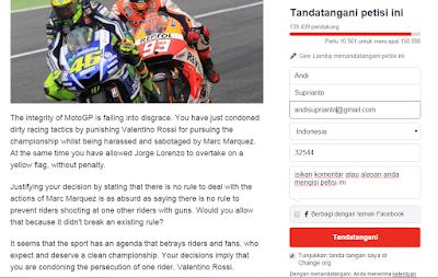 Petisi Batalkan Hukuman Rossi Butuh 10.561 Untuk Mencapai Target