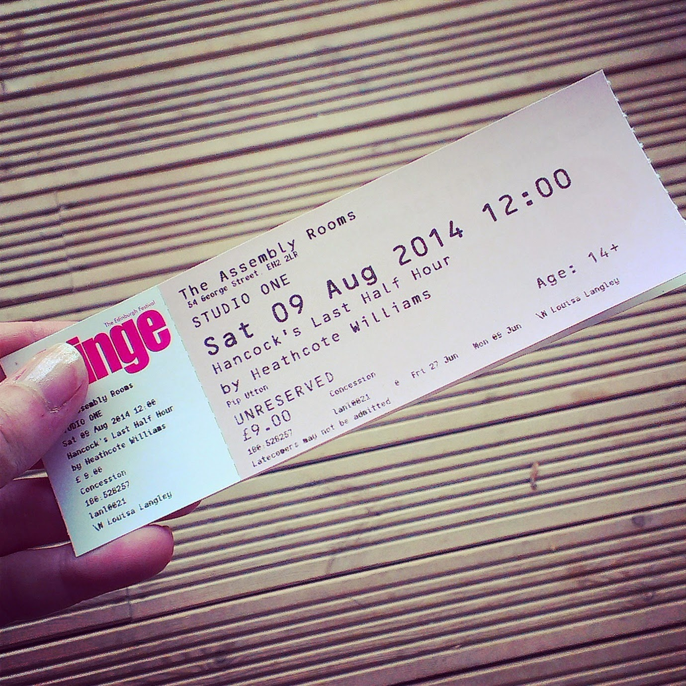 Tickets for an Edinburgh Fringe show