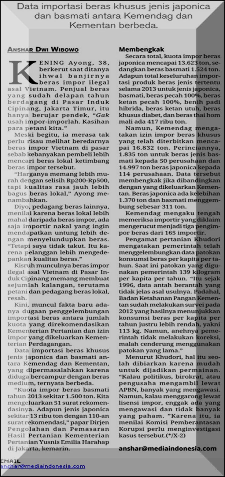Izin Impor Beras Khusus Menggembung @ Berita Satu Media