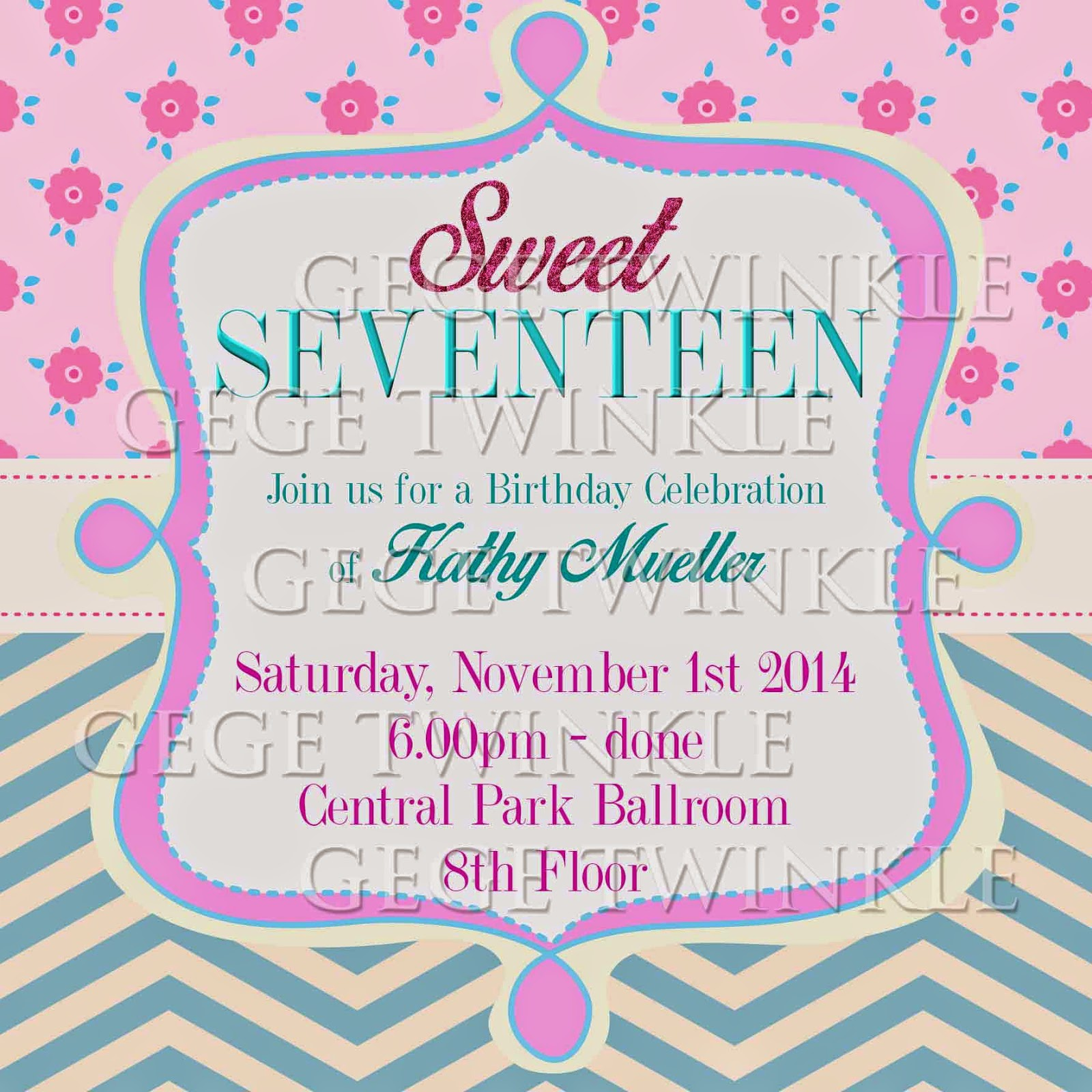 Invitation card birthday party sweet seventeen invitationswedd invitation card birthday sweet seventeen various stopboris Image collections