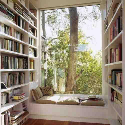 Białe regały, domowa biblioteka, miejsce do czytania w domu