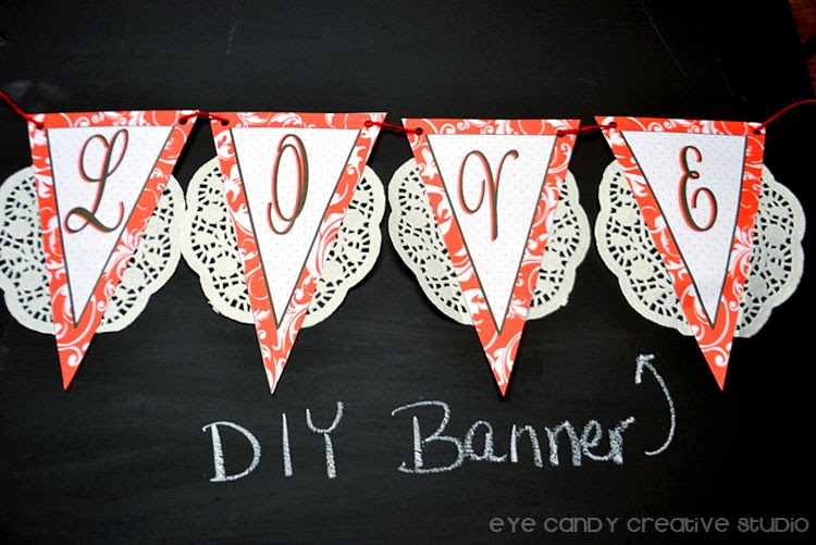 DIY banner for valentines day, red damask print, love banner
