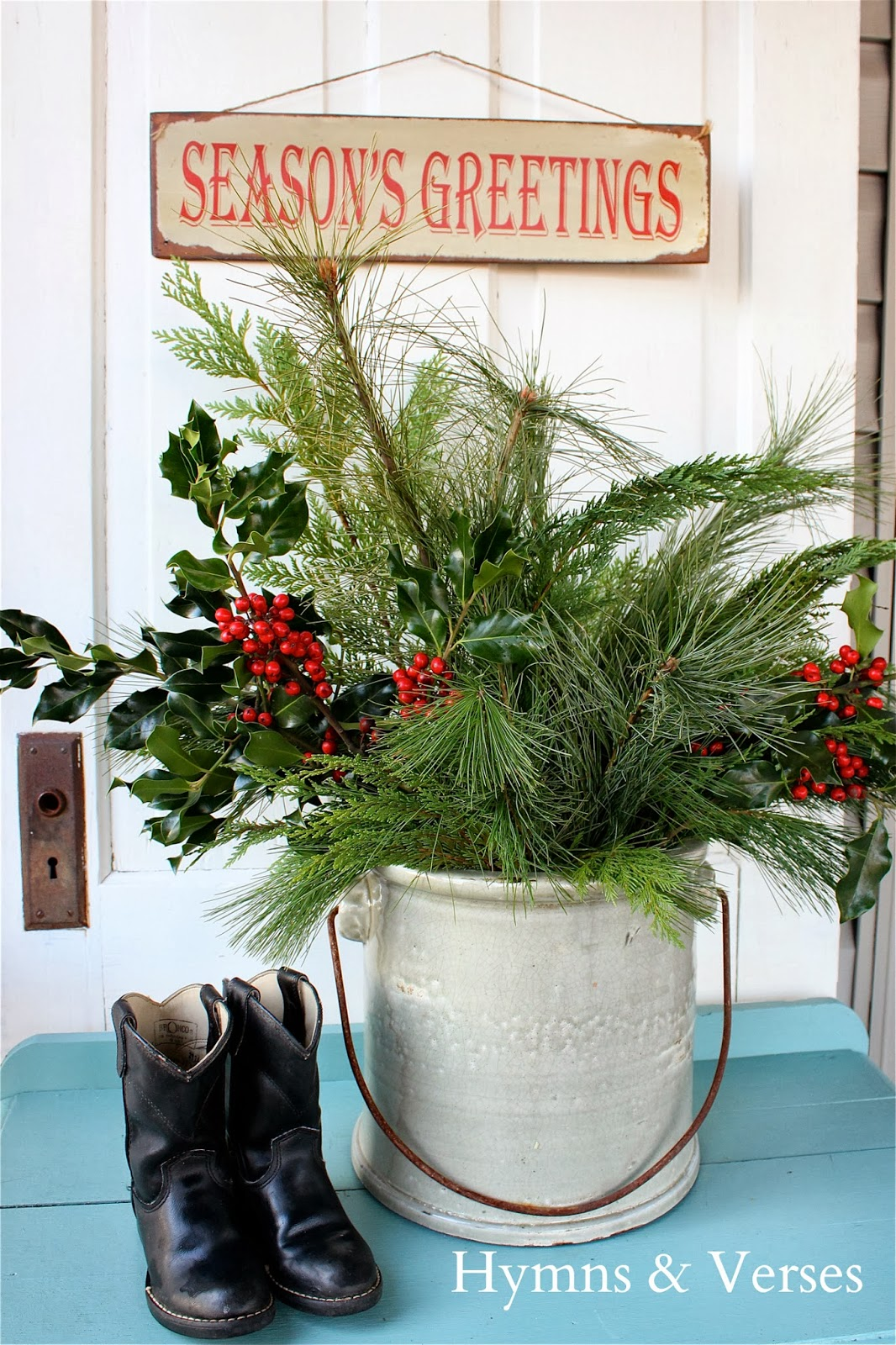 Christmas Greens In Crock With