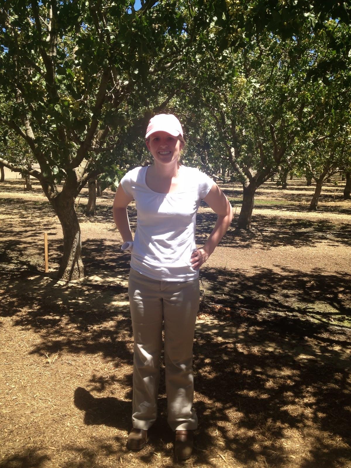 Kara visiting a pistachio orchard