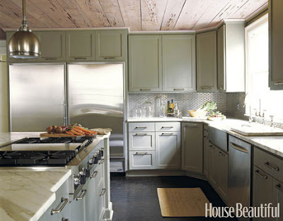 green painted cabinets, rustic ceiling, transitional