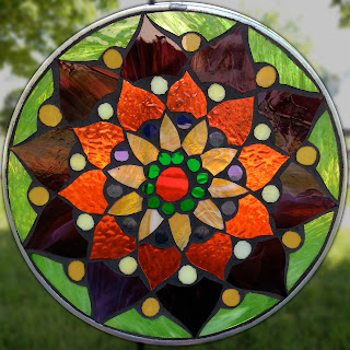 Red, Amber and Violet Lotus Mosaic Mandala