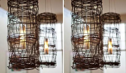 luminária de arame reuso